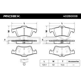 Kit de plaquettes de frein, frein à disque Essieu arrière du producteur RIDEX 402B0008 jusqu'à - 70% de rabais!