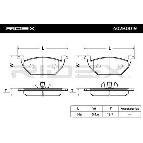 RIDEX Комплект спирачно феродо, дискови спирачки 402B0019