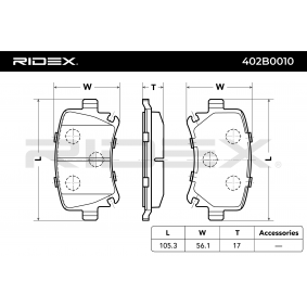 RIDEX Bremseklodser bagaksel Varenummer 402B0010 priser