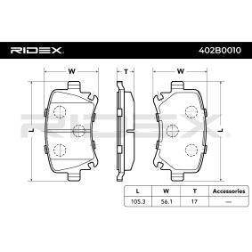 RIDEX Σετ τακάκια, δισκόφρενα Πίσω άξονας Προϊόν № 402B0010 τιμές