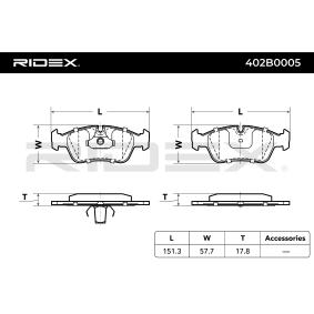 RIDEX 402B0005 Bremsbelagsatz, Scheibenbremse OEM - 34212157575 BMW, BILSTEIN, BMW (BRILLIANCE), R BRAKE günstig