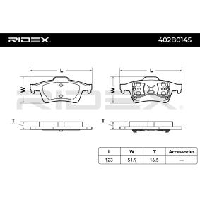 RIDEX Bremsbelagsatz, Scheibenbremse Hinterachse Art. Nr 402B0145 günstig