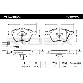 RIDEX 402B0102 Bremsbelagsatz, Scheibenbremse OEM - 4F0698151B AUDI, SEAT, SKODA, VW, VAG, METELLI, NK, BRINK, HELLA PAGID, VEMA günstig