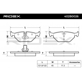 RIDEX 402B0026 Bremsbelagsatz, Scheibenbremse OEM - 34212157591 BMW, BILSTEIN, sbs günstig