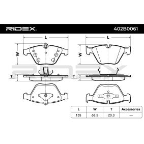 RIDEX Bremsbelagsatz, Scheibenbremse (402B0061) niedriger Preis