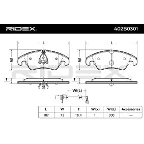 RIDEX 402B0301 Bremsbelagsatz, Scheibenbremse OEM - 8K0698151H AUDI, PORSCHE, SEAT, SKODA, VW, VAG, FIAT / LANCIA, ATE, A.B.S., GIRLING, AUDI (FAW), OEMparts, R BRAKE günstig