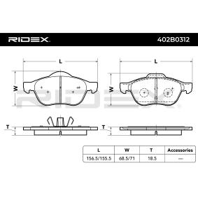 Pastillas de Freno Art. No: 402B0312 fabricante RIDEX para RENAULT SCÉNIC a buen precio