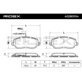 RIDEX 402B0104 Bremsbelagsatz, Scheibenbremse OEM - 77362236 ALFA ROMEO, CITROËN, FIAT, LANCIA, ALFAROME/FIAT/LANCI, FSO, A.B.S., OEMparts günstig