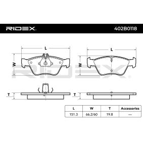RIDEX 402B0118 Bremsbelagsatz, Scheibenbremse OEM - A0024204420 DAIMLER, MERCEDES-BENZ, MITSUBISHI, ICER, OEMparts günstig