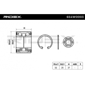 RIDEX Σετ ρουλεμάν τροχών Πίσω άξονας 4059191319619 εκτίμηση
