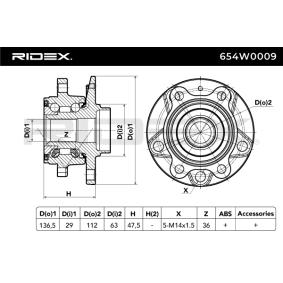 RIDEX Kit de roulement de roue (654W0009) à bas prix