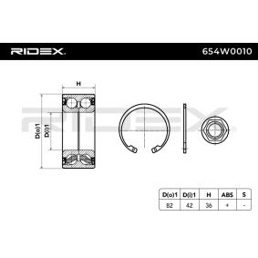 RIDEX 654W0010 Radlagersatz OEM - 1606623580 CITROËN, PEUGEOT, CITROËN/PEUGEOT, GLASER, NK, A.B.S., CITROËN (DF-PSA), FISPA, OEMparts, PEUGEOT (DF-PSA), DS günstig