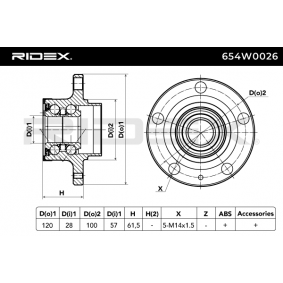 RIDEX SEAT IBIZA Buje de rueda (654W0026)