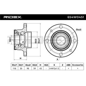 Wheel bearing RIDEX (654W0451) for FIAT PANDA Prices