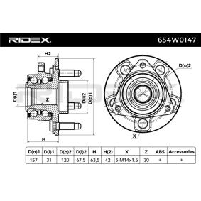 RIDEX 654W0147 Radlagersatz OEM - 328006 OPEL, VAUXHALL, CHEVROLET, GERI, GENERAL MOTORS, A.B.S., FRENKIT, SPILU günstig