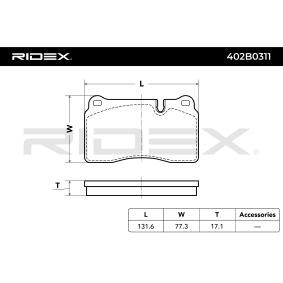 RIDEX Zestaw klocków hamulcowych, hamulce tarczowe 8J0698151M dla VW, AUDI, SKODA, SEAT, CUPRA nabyć