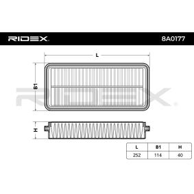 Filtro de aire RIDEX (8A0177) para KIA PICANTO precios