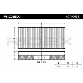 Filter, Innenraumluft RIDEX Art.No - 424I0039 OEM: 1062253 für OPEL, FORD kaufen