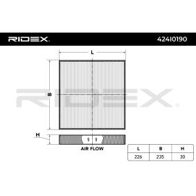 Air conditioner filter 424I0190 RIDEX