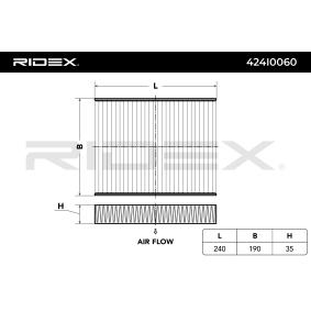 RIDEX Filter, Innenraumluft 1353269 für OPEL, FORD, AUTO UNION, PLYMOUTH bestellen