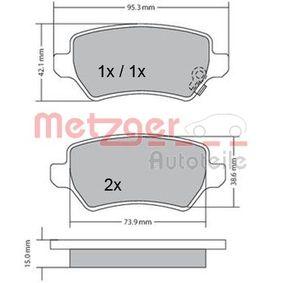 Bremsbelagsatz, Scheibenbremse METZGER Art.No - 1170004 OEM: 93176118 für OPEL, PEUGEOT, KIA, CHEVROLET, SAAB kaufen