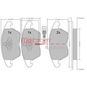 Bremsbelagsatz, Scheibenbremse METZGER Art.No - 1170007 OEM: 1K0698151E für VW, AUDI, FORD, PEUGEOT, SKODA kaufen
