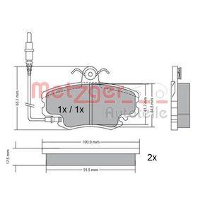 Bremsbelagsatz, Scheibenbremse METZGER Art.No - 1170009 OEM: 7701204833 für RENAULT, PEUGEOT, NISSAN, CHEVROLET, DACIA kaufen