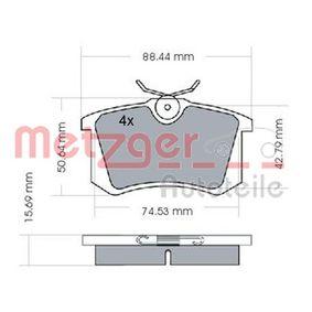Bremsbelagsatz, Scheibenbremse METZGER Art.No - 1170022 OEM: 191698451B für VW, AUDI, SKODA, SEAT, CITROЁN kaufen