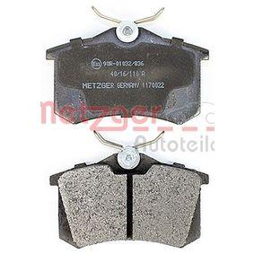 20961 für , Bremsbelagsatz, Scheibenbremse METZGER (1170022) Online-Shop