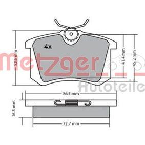 Bremsbelagsatz, Scheibenbremse METZGER Art.No - 1170039 OEM: 7701208416 für VW, AUDI, FORD, RENAULT, SKODA kaufen