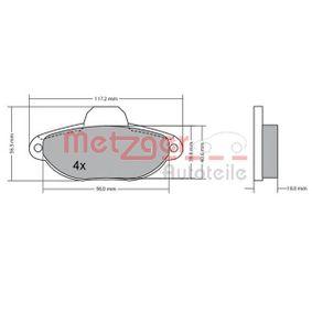 METZGER Brake pad set 1170044