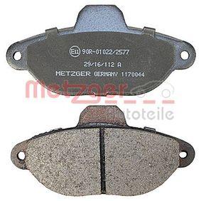 PANDA (169) METZGER Brake pad set disc brake 1170044