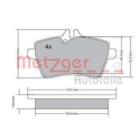 Bremsbelagsatz, Scheibenbremse METZGER Art.No - 1170053 kaufen