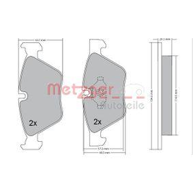 Bremsbelagsatz, Scheibenbremse METZGER Art.No - 1170078 OEM: 34116799166 für BMW kaufen