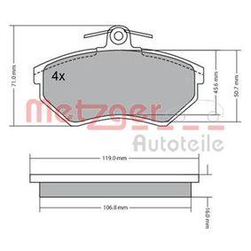 Bremsbelagsatz, Scheibenbremse METZGER Art.No - 1170095 OEM: 357698151D für VW, AUDI, SKODA, SEAT kaufen