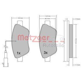 Bremsbelagsatz, Scheibenbremse METZGER Art.No - 1170102 kaufen