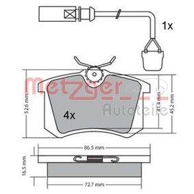 Bremsbelagsatz, Scheibenbremse METZGER Art.No - 1170174 OEM: 6Q0698451 für VW, AUDI, SKODA, SEAT, HONDA kaufen