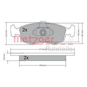 Bremsbelagsatz, Scheibenbremse METZGER Art.No - 1170249 OEM: 9948870 für FIAT, ALFA ROMEO, LANCIA kaufen