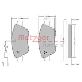 Bremsbelagsatz, Scheibenbremse METZGER Art.No - 1170296 kaufen