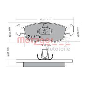 Bremsbelagsatz, Scheibenbremse METZGER Art.No - 1170308 OEM: 9948131 für FIAT, ALFA ROMEO, LANCIA kaufen