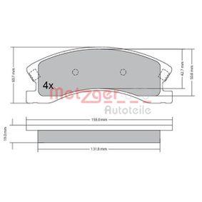 Bremsbelagsatz, Scheibenbremse METZGER Art.No - 1170439 OEM: 5093260AA für PEUGEOT, ALFA ROMEO, JEEP, CHRYSLER, DODGE kaufen