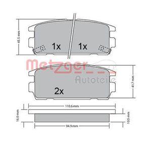 Bremsbelagsatz, Scheibenbremse METZGER Art.No - 1170585 OEM: 58302H1A00 für TOYOTA, HYUNDAI, KIA kaufen