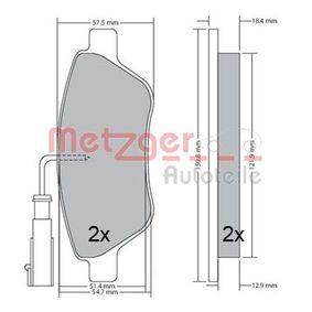 Bremsbelagsatz, Scheibenbremse METZGER Art.No - 1170615 OEM: 77365188 für MERCEDES-BENZ, FIAT, HONDA, ALFA ROMEO, CHRYSLER kaufen