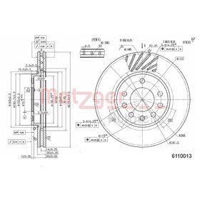 Bremsscheibe METZGER Art.No - 6110013 OEM: 9117678 für OPEL, CHEVROLET, SUBARU, CADILLAC, ISUZU kaufen