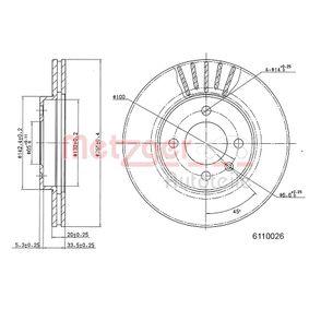 Bremsscheibe METZGER Art.No - 6110026 OEM: 357615301D für VW, AUDI, SKODA, SEAT kaufen