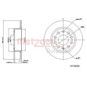 Bremsscheibe METZGER Art.No - 6110036 OEM: 5C0615601 für VW, AUDI, SKODA, SEAT, PORSCHE kaufen