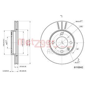 Bremsscheibe METZGER Art.No - 6110042 OEM: 841615301 für VW, AUDI, FORD, SKODA, SEAT kaufen
