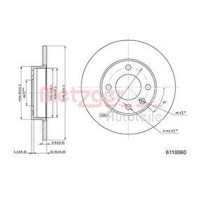Bremsscheibe METZGER Art.No - 6110060 OEM: 811615301 für VW, AUDI, FIAT, SKODA, SEAT kaufen