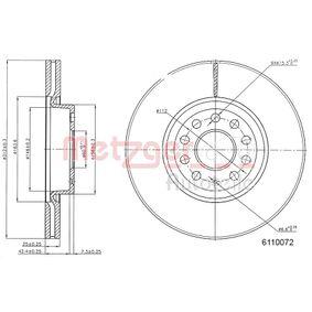 Bremsscheibe METZGER Art.No - 6110072 OEM: 1K0615301AA für VW, AUDI, SKODA, MAZDA, SEAT kaufen