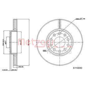 Bremsscheibe METZGER Art.No - 6110080 OEM: 4B0615301B für VW, AUDI, SKODA, SEAT, PORSCHE kaufen
